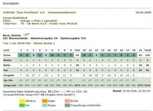 Scorekarte vom Sonnenwend-Golfturnier vom 20.06.2009