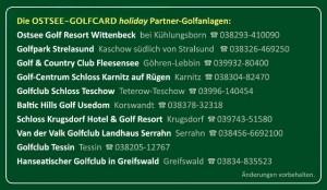 Ostsee-Golfcard - Partner-Golfanlagen