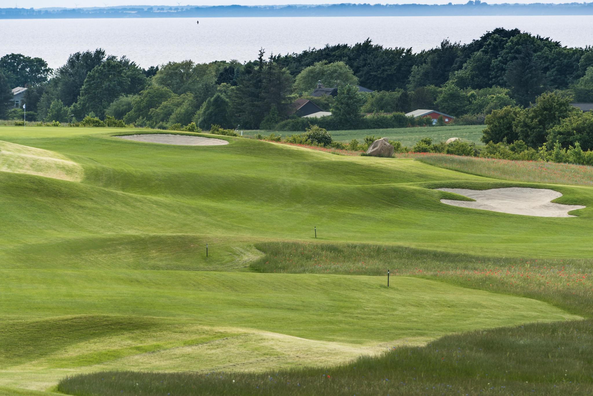 Aussicht auf eine Golfbahn des Golfplatzes Schloss Ranzow