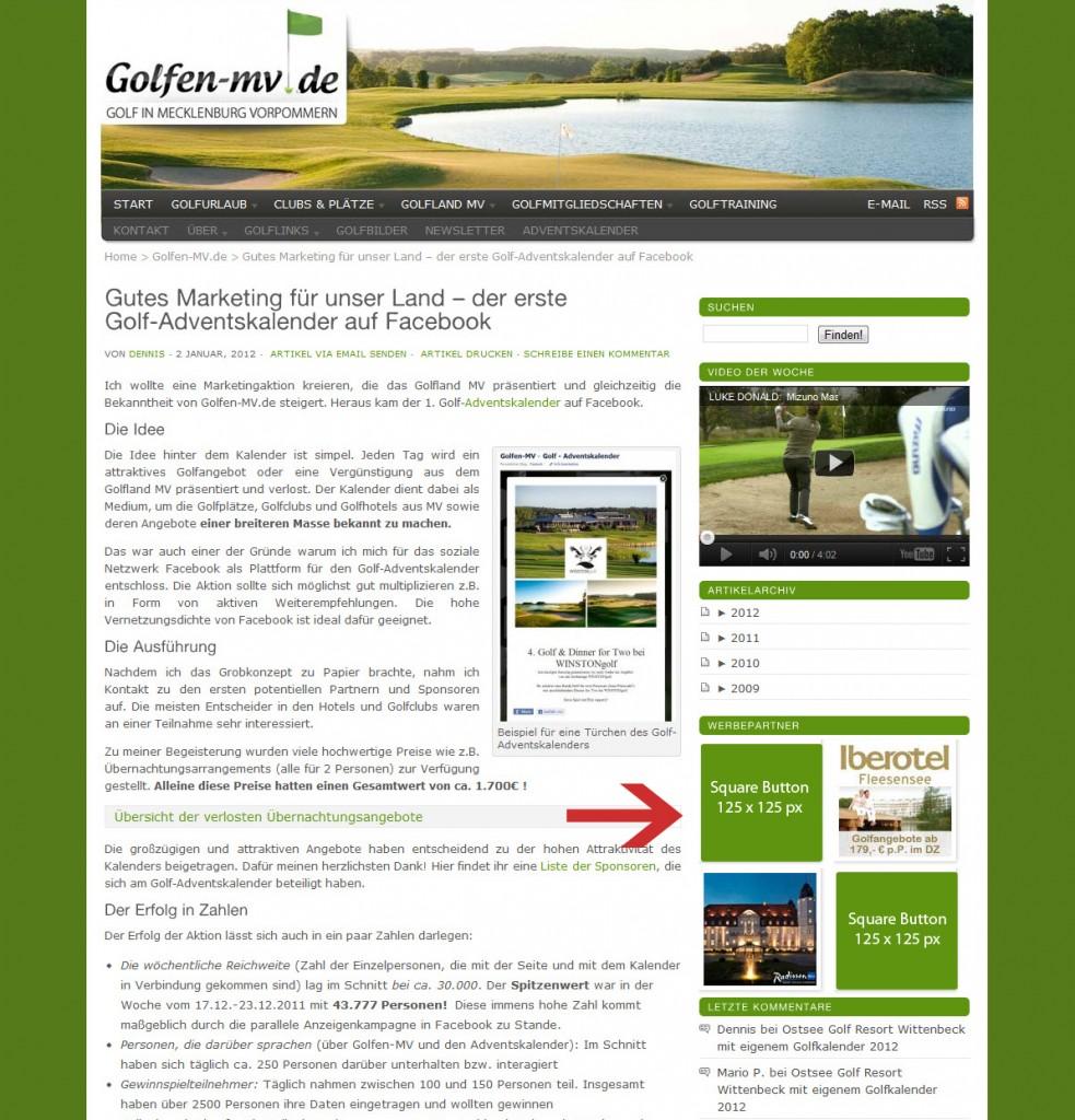 Werbung auf der Unterseite von Golfen-MV