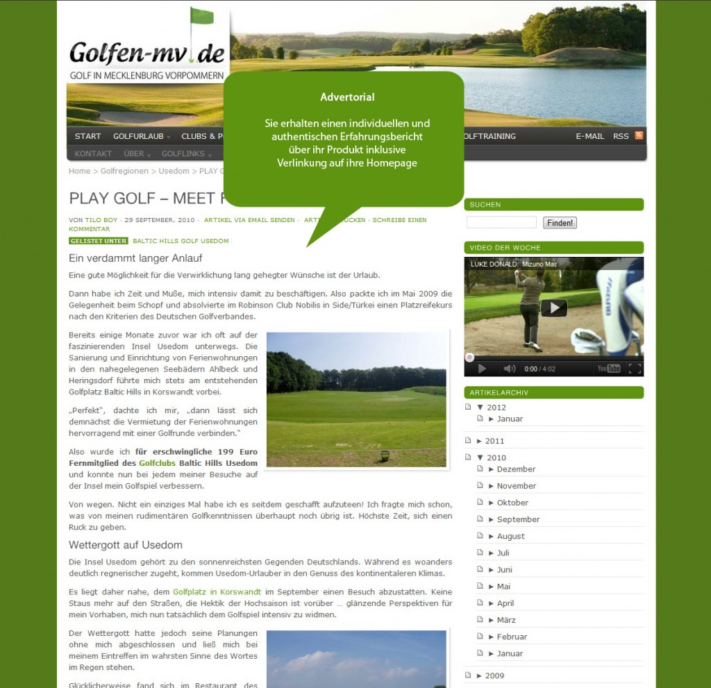 Advertorial auf Golfen-MV.de