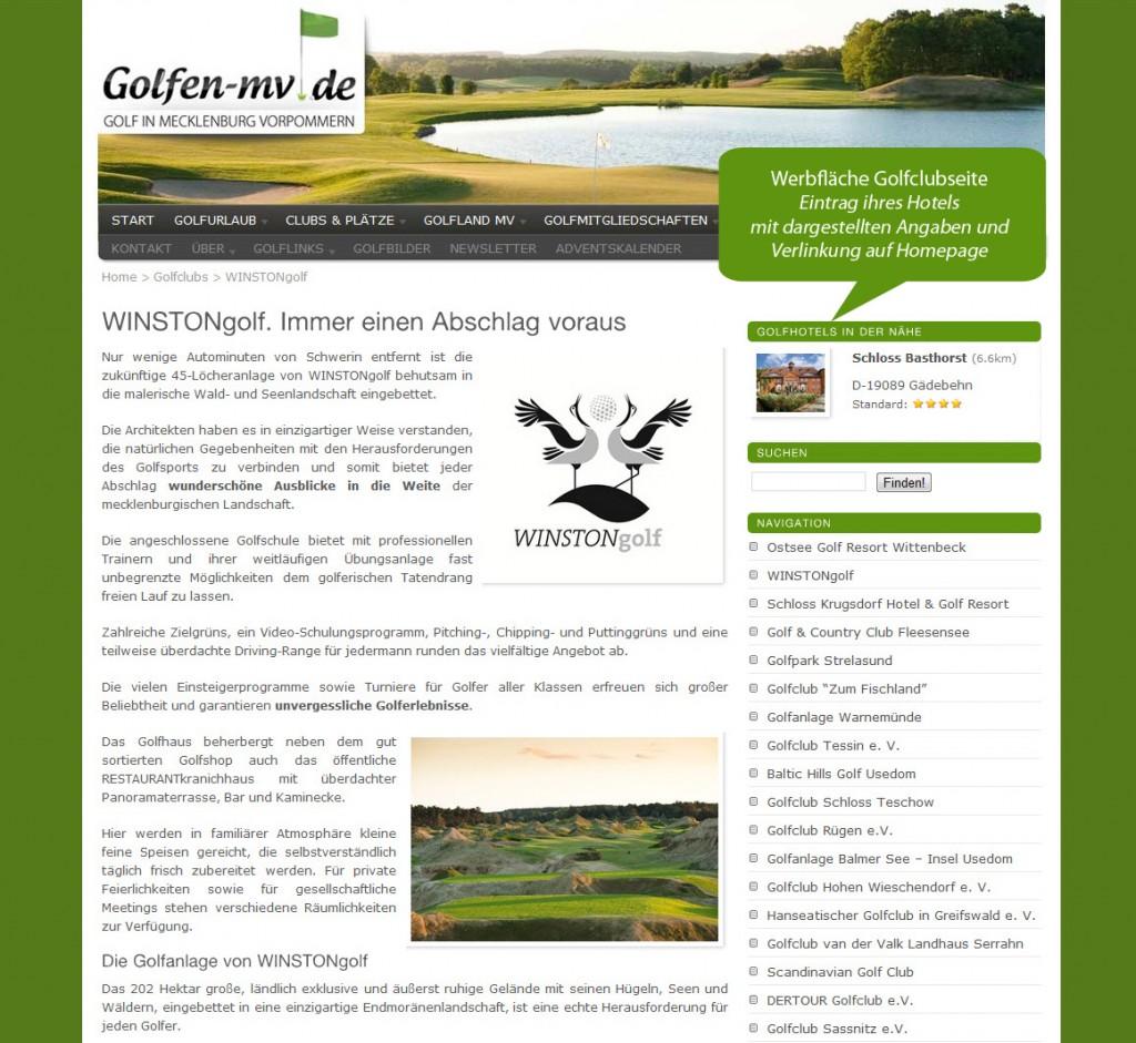 Werbung auf der Golfclubseite von Golfen-MV