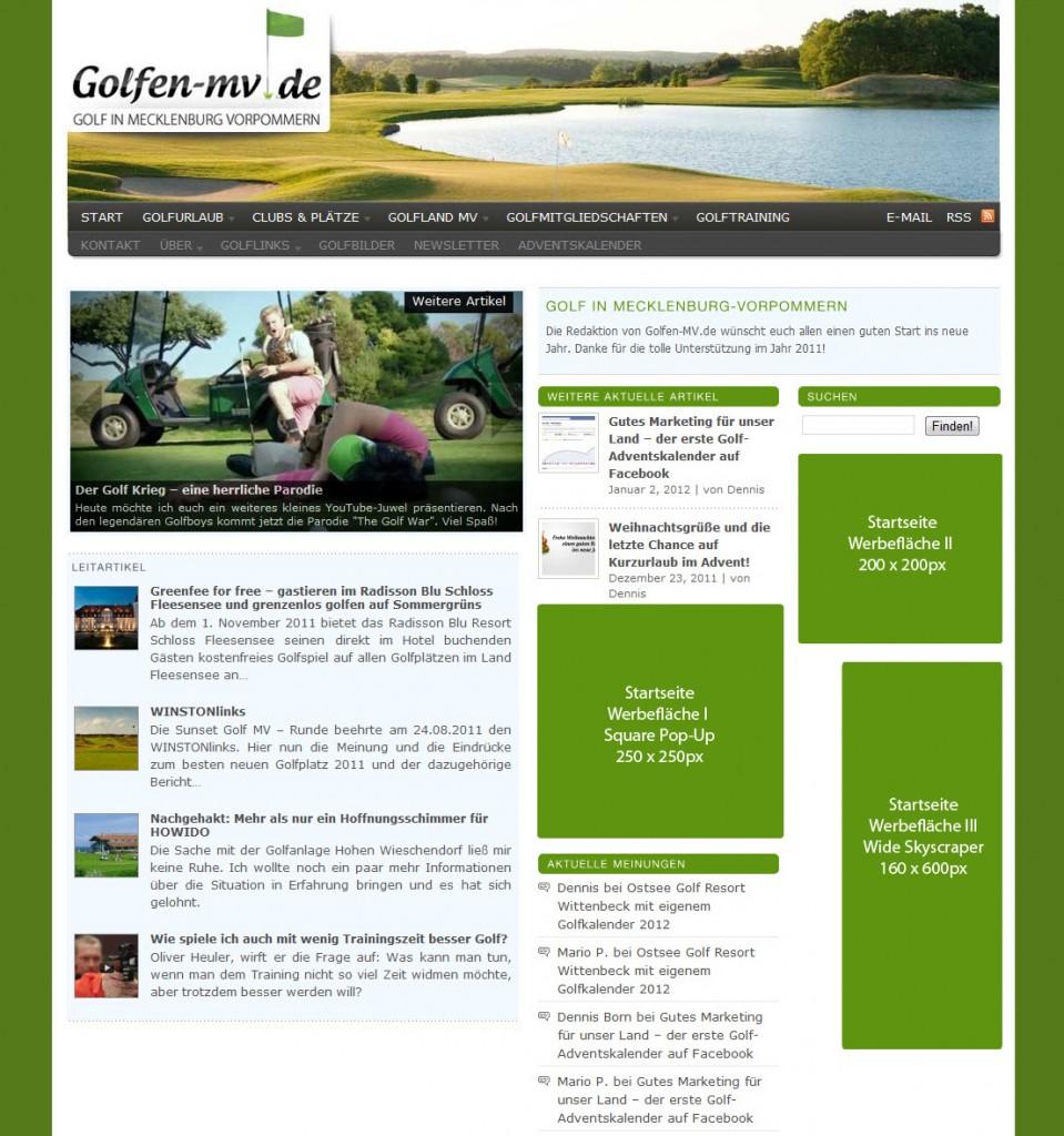 Werbung auf der Startseite von Golfen-MV