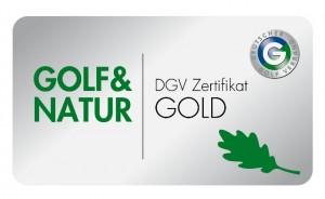 """Logo vom Deutschen Golfverband """"Golf und Natur"""" in Gold"""