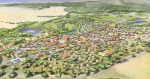 Das zukünftige Dorf Christinenfeld als Zeichnung