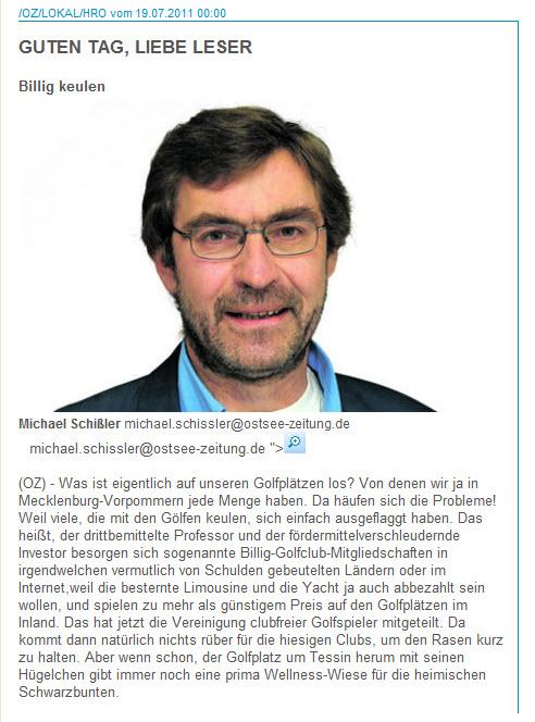 Michael Schissler schreibt über Golf in MV
