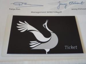 Die Einladung zur Eröffnung des neuen Golfplatzes WINSTONlinks